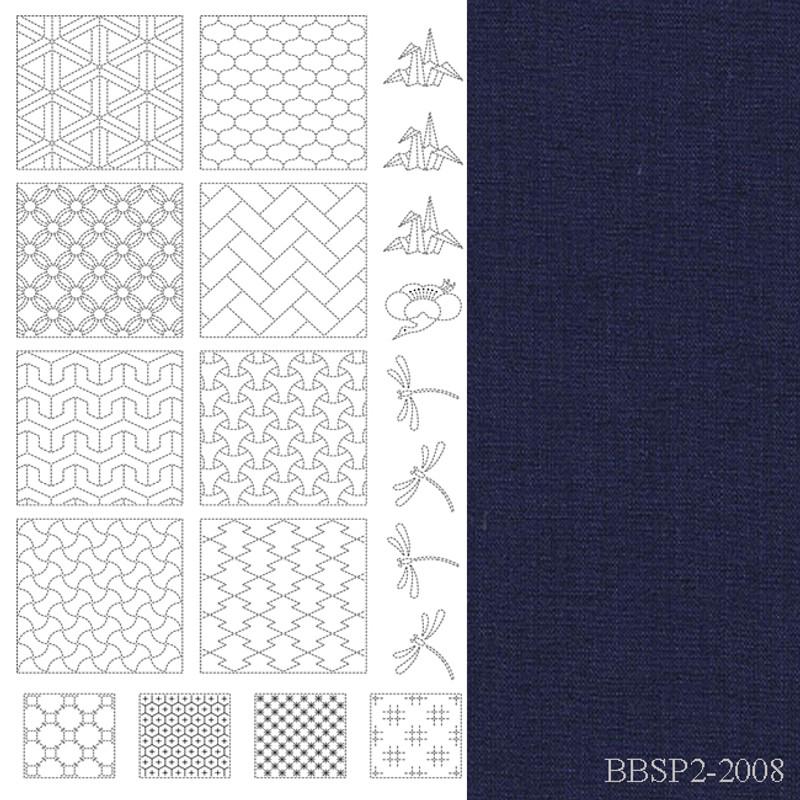 Sashiko Panel from BeBe Bold  2 Navy BBSP2-2008