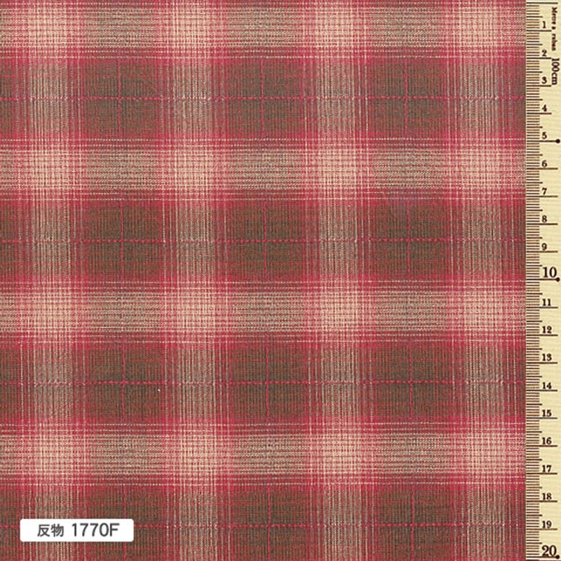 Sakizome Momen Yarn Dyed Fabric Colourful Check F Bright Red 1770F