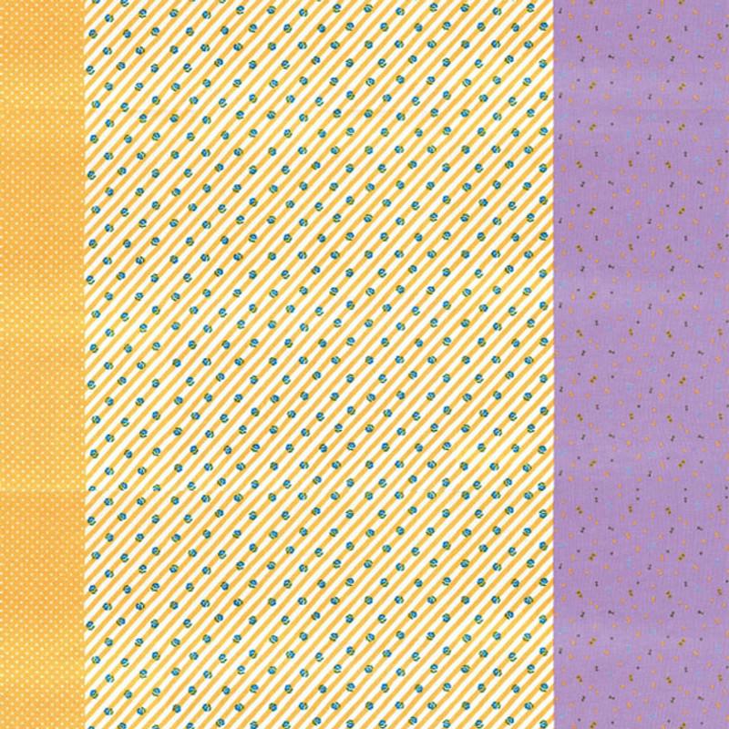 Printed Cotton Fabric Nicotto-Yellow & Purple F-9109