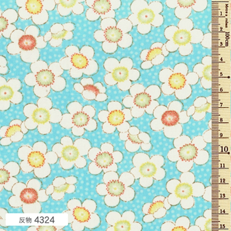 Printed Cotton Fabric Soleil Fall Blossom Bright Blue F-4324