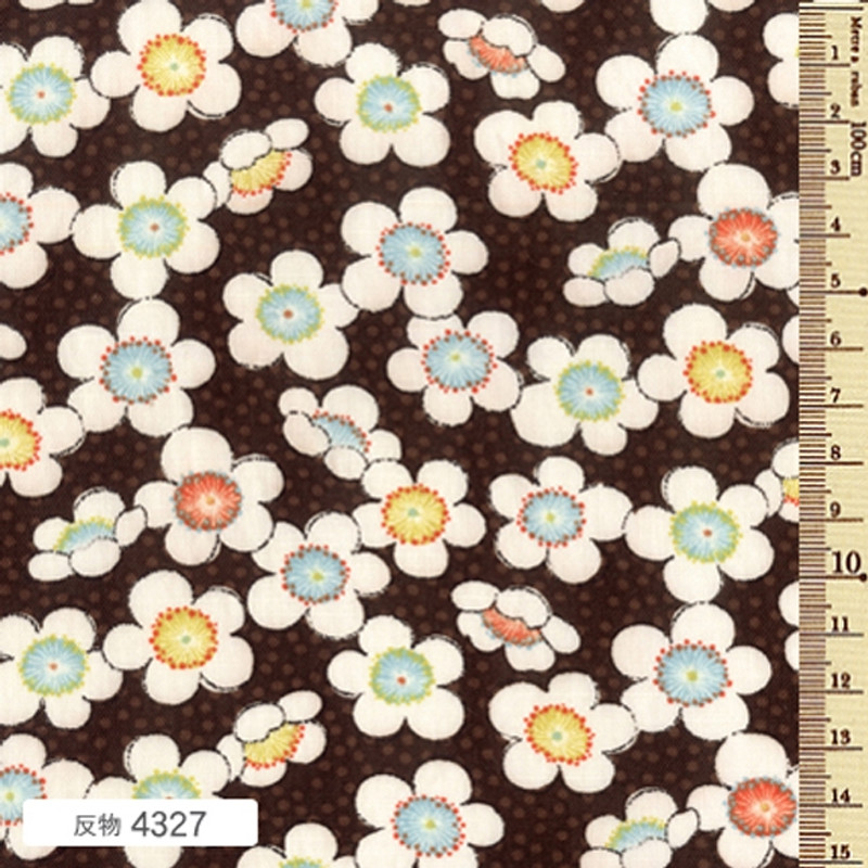 Printed Cotton Fabric Soleil Fall Blossom Brown F-4327