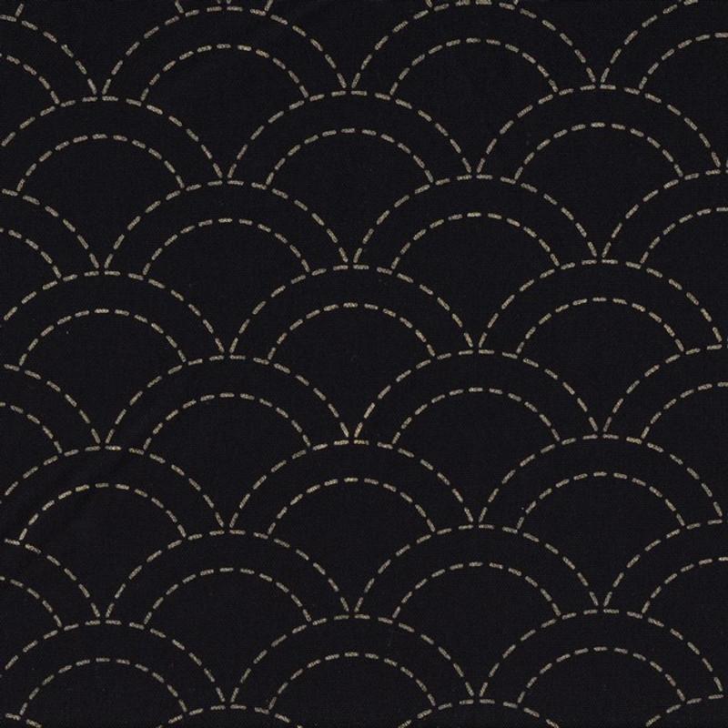 Stencilled Sashiko Fabric Overlapping Waves Black