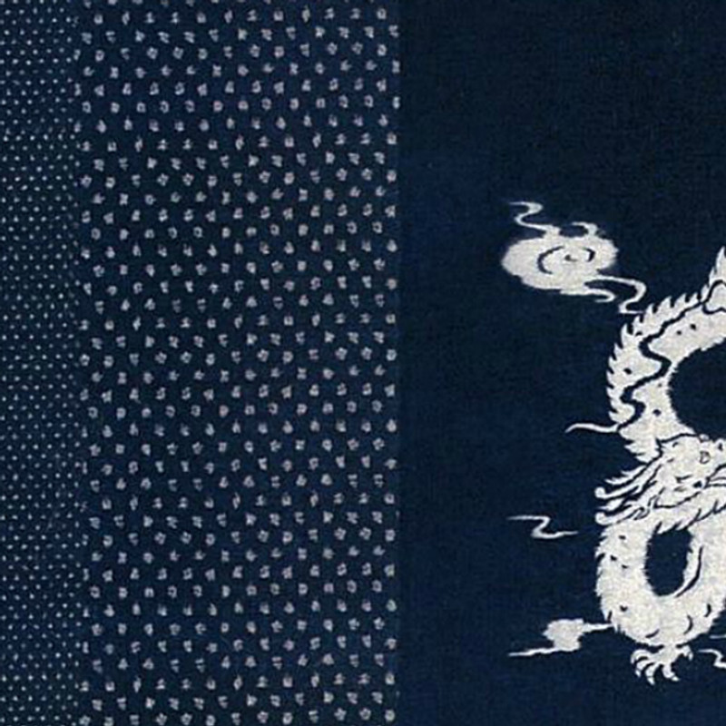 Takumi Printed Cotton Fabric Indigo Panel-Dragon 11N-25B