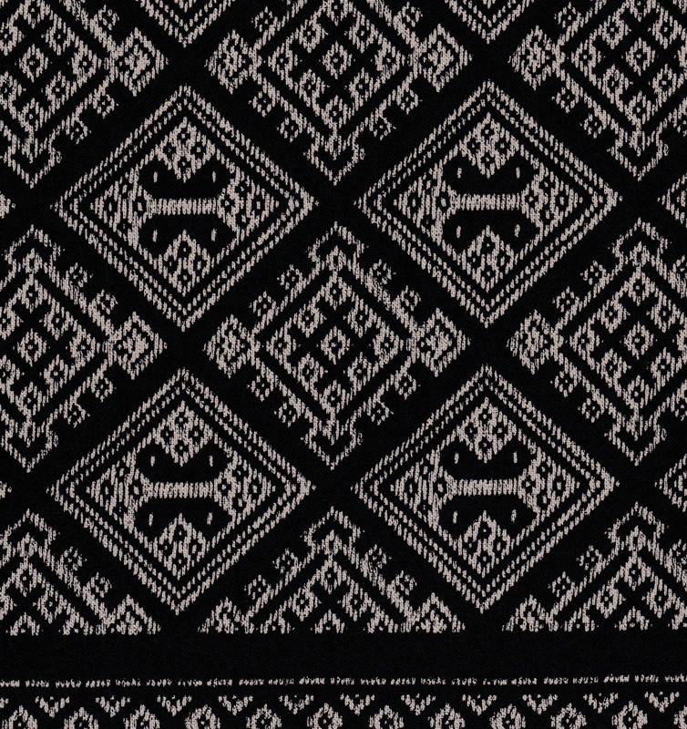 Takumi Printed Cotton Fabric Kogin Patterns Black 14N-6A