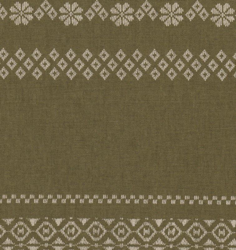 Takumi Printed Cotton Fabric Kogin Patterns Green 14N-6-GG
