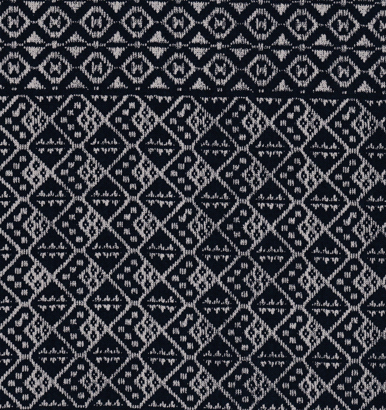 Takumi Printed Cotton Fabric Kogin Patterns Navy Blue 14N-6B