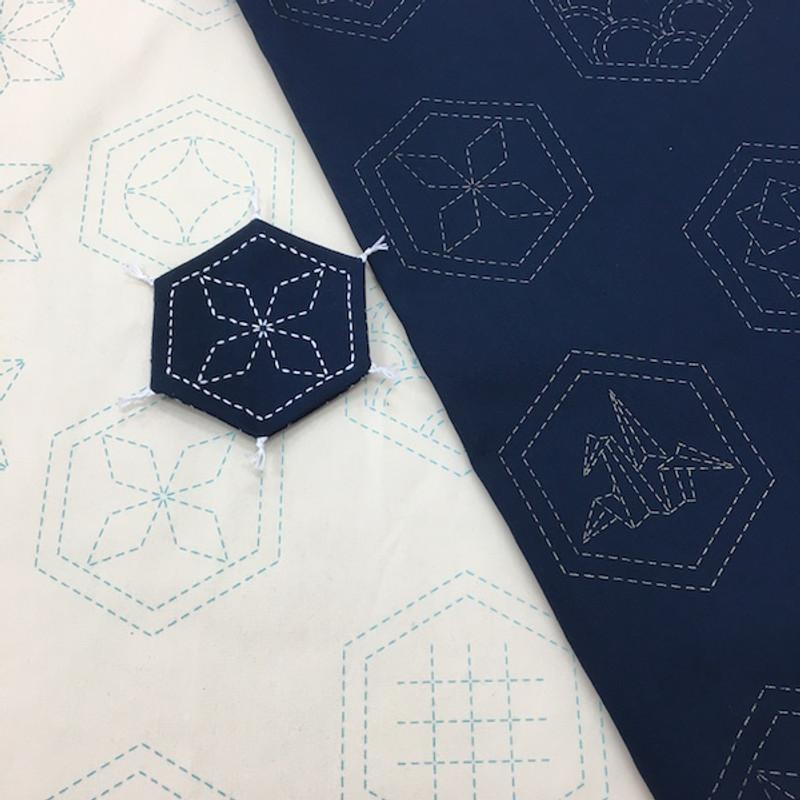 Stencilled Sashiko Fabric Many Patterns Black SSF-13