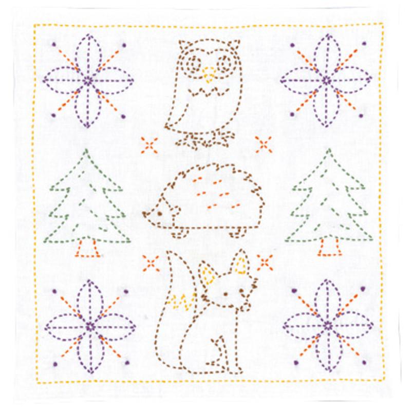 Olympus Sashiko Kit Sweet Animals and Christmas Trees SK-329