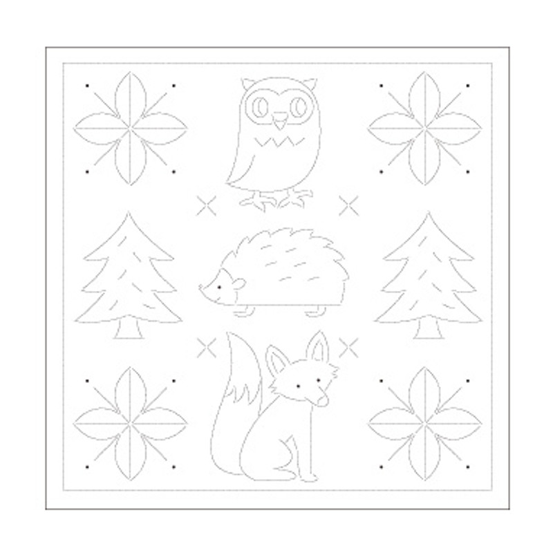 Sashiko Sampler Sweet Animals and Christmas trees SS-H-1031