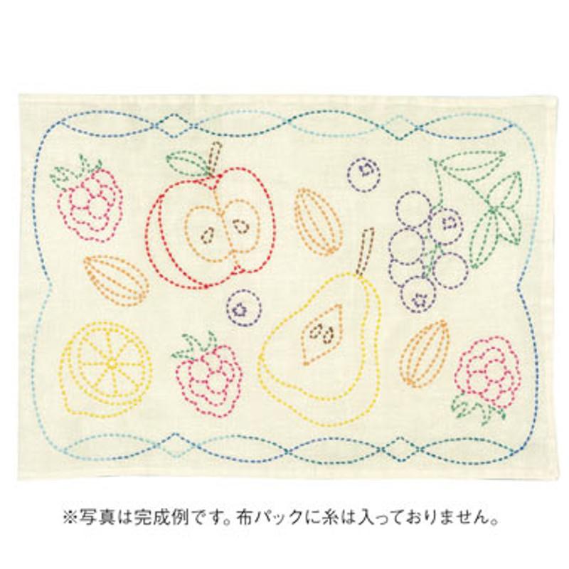 Sashiko Fruits of Europe Placemat Off White L-6001