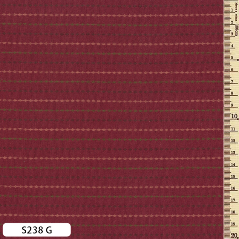 Sakizome Momen Fabric Dotted Lines Red S238G