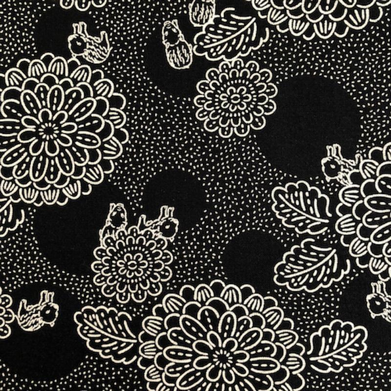 Takumi Printed Cotton Fabric Black 18N-2A