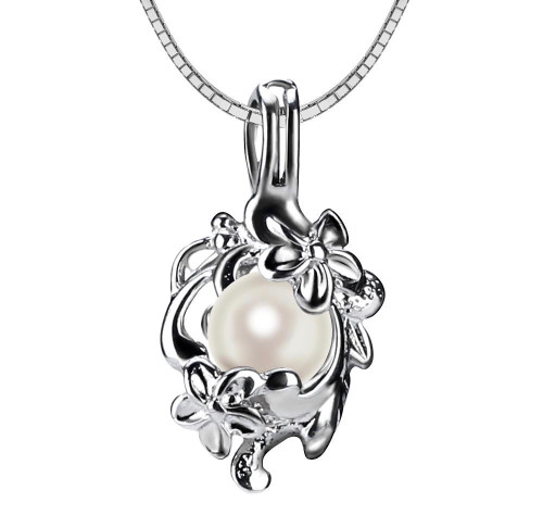 Pearl in Oyster Gift Set w/Necklace and Art Deco Floral Pendant