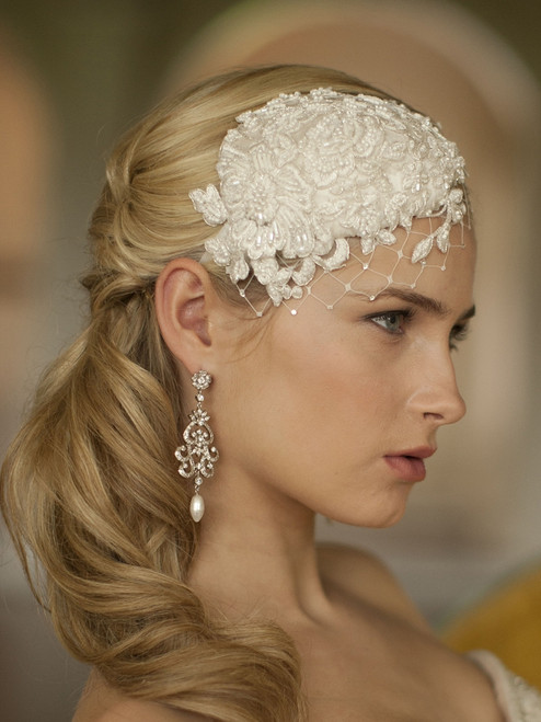 Retro Lace and Silk Bridal Cocktail Hat (Wide Netting)