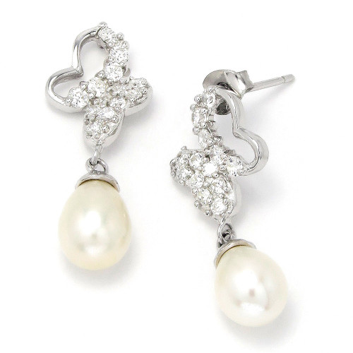 Sterling Silver Freshwater Pearl CZ Bridal Earrings