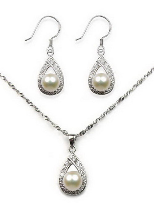 Sterling Silver Pearl Pendant & Earrings Set