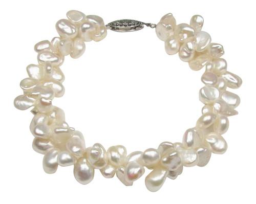 Triple Strand Freshwater Keishi Pearl Bracelet w/Sterling Clasp