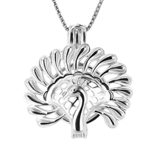 Sterling Silver Pearl in Oyster Gift Set w/Peacock Pendant