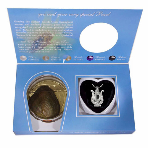 Pearl in Oyster Gift Set w/Harp Pendant