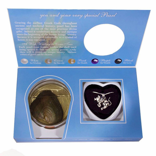 Pearl in Oyster Gift Set w/Taurus Pendant