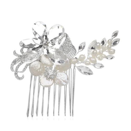 Freshwater  Pearl & Crystals Bridal Comb w/Swarovski Crystals
