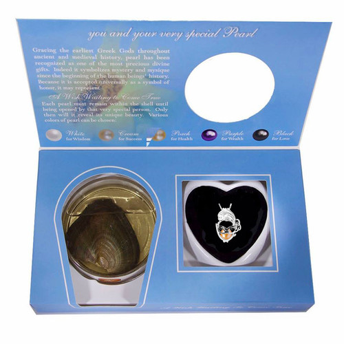 Pearl in Oyster Gift Set w/Sterling Silver Mask Pendant
