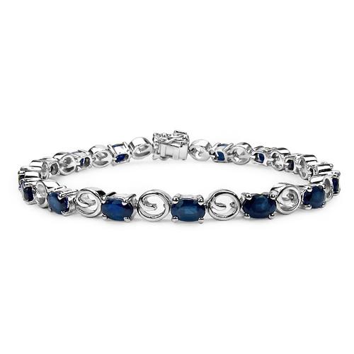 Blue Sapphire Sterling Silver Tennis Bracelet