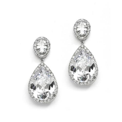 Bridal Drop Earrings Jewelry w/Pear Shaped Cubic Zirconia