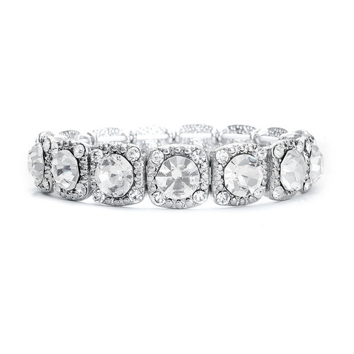 Bridal Stretch Bracelet with Cubic Zirconia Solitaires