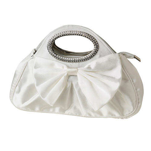 Cream Satin Evening Bag with Rhinestone Adorned Handles