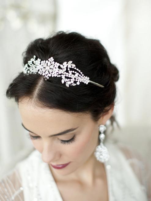 Crystal Bridal Headband   Tiara with Art Deco Floral Pattern