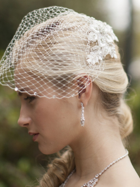 Crystal White Lace Applique Bridal Veil with French Net Birdcage Blusher & Scattered Crystal Edge