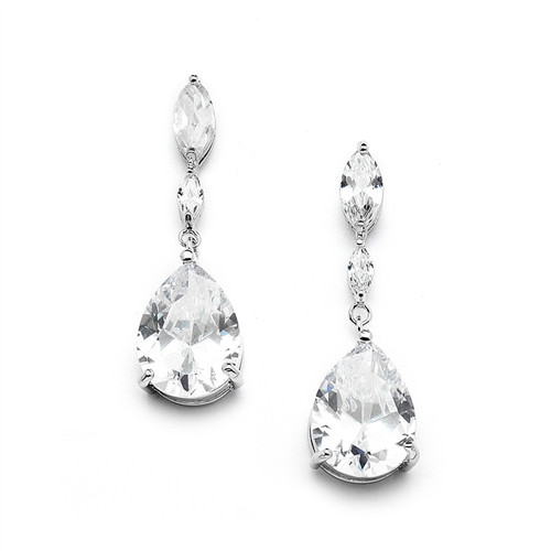 Cubic Zirconia Bridal Earrings w/ Marquise & Pear Drop CZ Stones