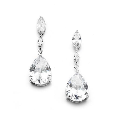 Cubic Zirconia Bridal Earrings w/ Marquise & Pear Drop CZ Stones