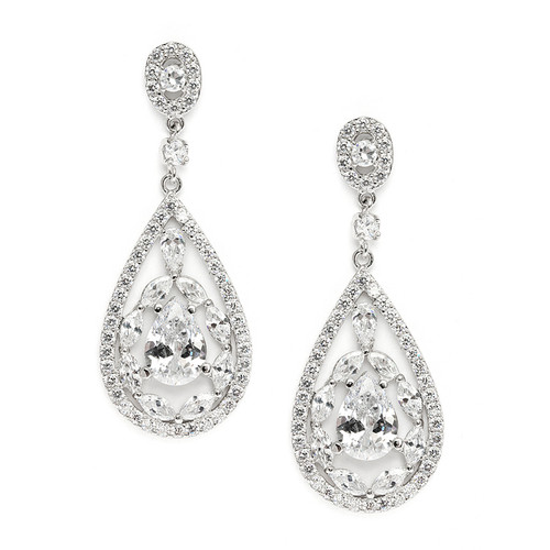 Cubic Zirconia Mosaic Teardrop Bridal, Prom or Wedding Earrings