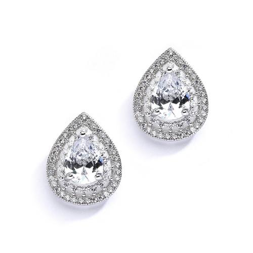 Designer Micro Pave Cubic Zirconia Bridal Earrings
