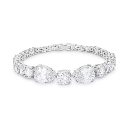 Elegant Tennis Bracelet w/Pear & Round Shaped Cubic Zirconia