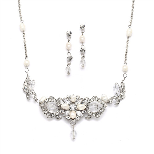 Freshwater Pearl & Crystal Wedding Necklace & Earrings Set