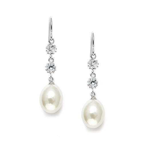 Freshwater Pearl and Cubic Zirconia Dangle Wedding Earrings