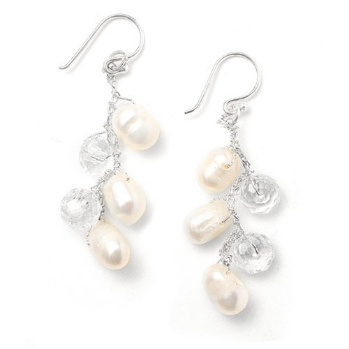 Genuine Freshwater Pearl Dangle Bridal Earrings