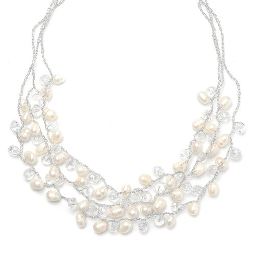 Genuine Freshwater Pearls 3-Row Bridal Necklace