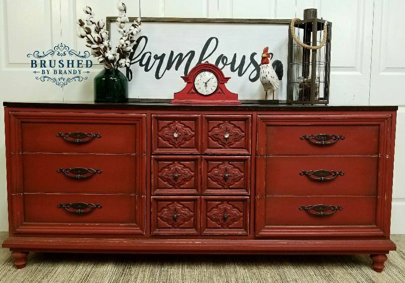 How to Paint with Barn Red on a 9 Dresser Drawer