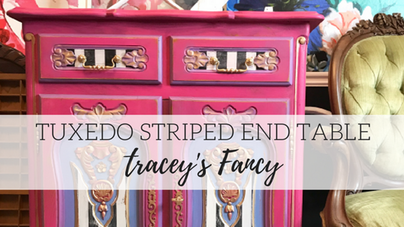 Tuxedo Striped End Table - Tracey's Fancy