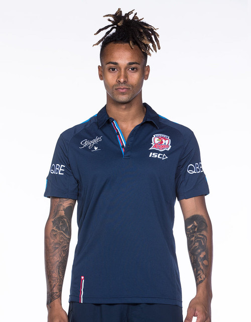 Sydney Roosters 2018 Mens Media Polo - Navy/Blue