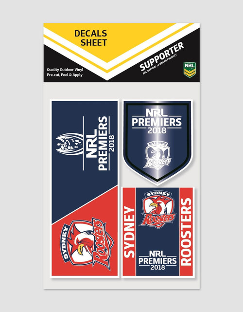Sydney Roosters 2018 Premiers Decal Sticker Sheet