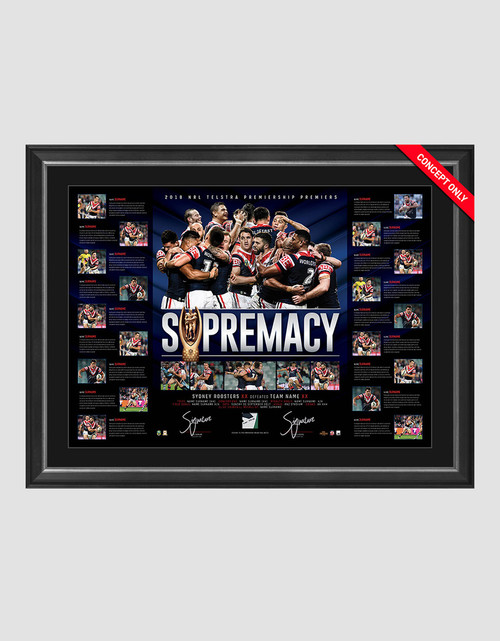Sydney Roosters 2018 Premiers Dual Signed Lithograph Framed