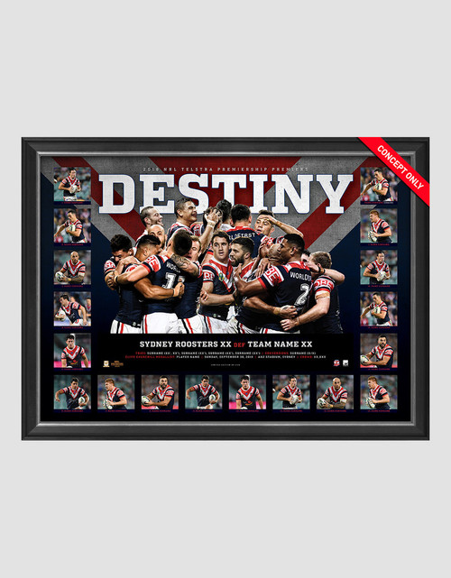 Sydney Roosters 2018 Premiers Destiny Sportsprint Framed