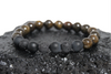 """Drake"" BOYBEADS 8mm or 10mm bronzite onyx lava handmade beaded bracelet for guys"