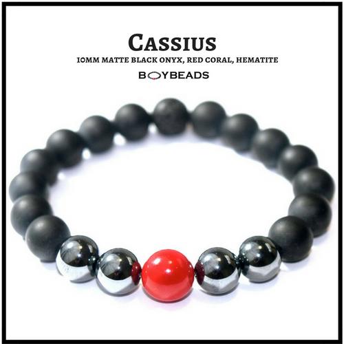 """Cassius"" BOYBEADS 10mm matte black onyx, red coral, hematite bead bracelet"