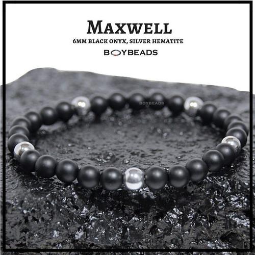 """Gibbons Silver"" Hematite + Matte Black Onyx 6mm natural stone bead bracelet"